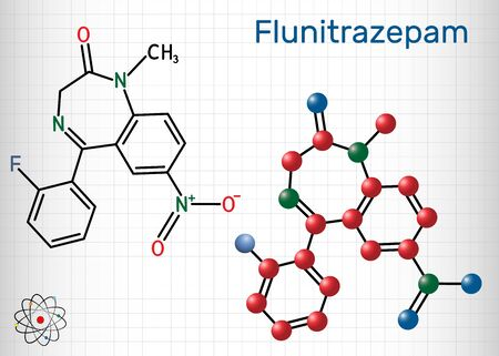 Flunitrazepam drug molecule. It has hypnotic, sedative, anxiolytic properties. Structural chemical formula and molecule model. Sheet of paper in a cage.Vector illustration Stock Illustratie