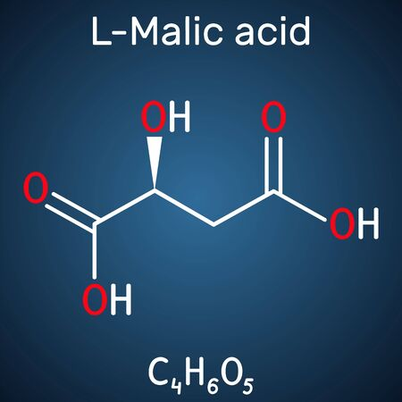 Malic acid C4H6O5 molecule, is dicarboxylic acid. Structural chemical formula on the dark blue background. Vector illustration