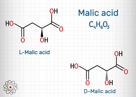 Malic acid, stereoisomeric forms D- and L-malic acid molecule. Skeletal chemical formula. Sheet of paper in a cage.Vector illustration