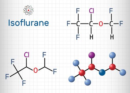 Isoflurane molecule, is inhalation anesthetic used for general anesthesia. Structural chemical formula and molecule model. Sheet of paper in a cage. Vector illustration