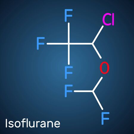 Isoflurane molecule, is inhalation anesthetic used for general anesthesia. Structural chemical formula on the dark blue background. Vector illustration