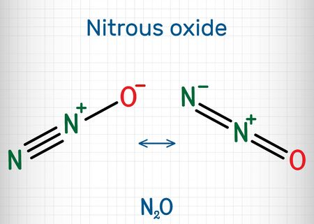 Nitrous oxide, laughing gas, N2O molecule. It is used such as a pharmacologic agent to produce anesthesia, a food additive as a propellant. Sheet of paper in a cage. Vector illustration