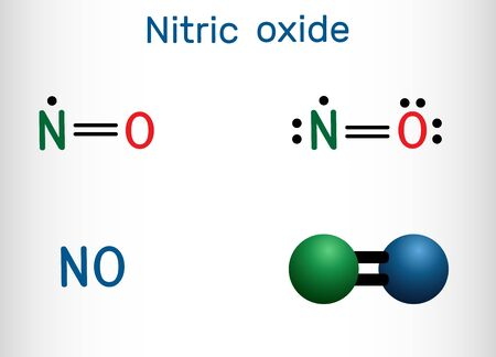 Nitric oxide, nitrogen monoxide, NO molecule. Structural chemical formula and molecule model. Vector illustration