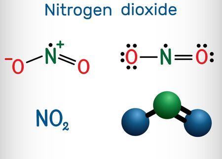 Stickstoffdioxid, NO2-Molekül. Strukturelle chemische Formel und Molekülmodell. Vektor-Illustration Vektorgrafik
