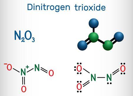 Dinitrogen trioxide , N2O3 molecule. Structural chemical formula and molecule model. Vector illustration