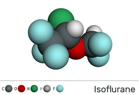Isoflurane molecule, is inhalation anesthetic used for general anesthesia. Molecular model. 3D rendering Фото со стока