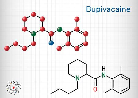 Bupivacaine molecule, is an amide-type, long-acting local anesthetic. Structural chemical formula and molecule model. Sheet of paper in a cage.Vector illustration