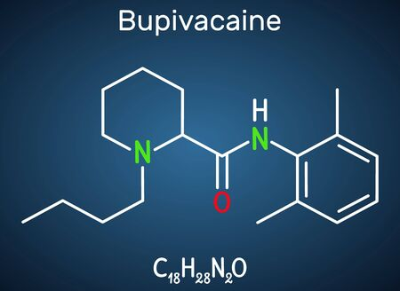 Bupivacaine molecule, is an amide-type, long-acting local anesthetic. Structural chemical formula on the dark blue background. Vector illustration