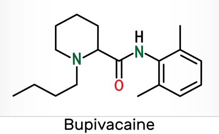 Bupivacaine molecule, is an amide-type, long-acting local anesthetic. Skeletal chemical formula. Illustration Фото со стока