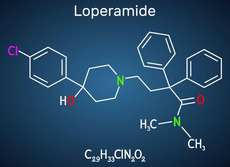 Loperamide, long-acting synthetic antidiarrheal molecule. Structural chemical formula on the dark blue background. Vector illustration Illustration