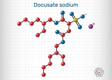 Docusate, dioctyl sulfosuccinate, docusate sodium, C20H37NaO7S molecule, is a stool softener for the treatment of constipation as a common laxative. Sheet of paper in a cage. Vector illustration Ilustração