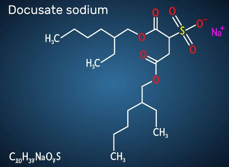 Docusate, dioctyl sulfosuccinate, docusate sodium, C20H37NaO7S molecule, is a stool softener for the treatment of constipation as a common laxative. Structural chemical formula on the dark blue background. Vector illustration