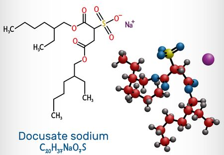 Docusate, dioctyl sulfosuccinate, docusate sodium, C20H37NaO7S molecule, is a stool softener for the treatment of constipation as a common laxative. Structural chemical formula and molecule model. Vector illustration