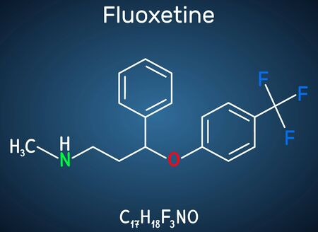 Fluoxetine molecule, is antidepressant of the selective serotonin reuptake inhibitor SSRI. Structural chemical formula on the dark blue background. Vector illustration