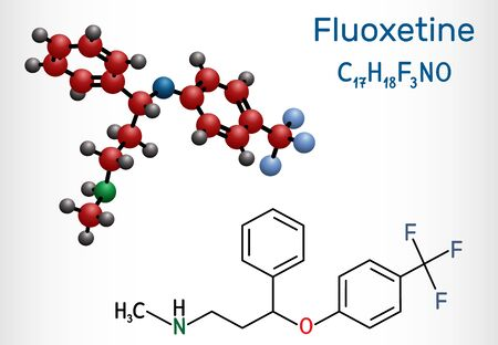 Fluoxetine molecule, is antidepressant of the selective serotonin reuptake inhibitor SSRI. Structural chemical formula and molecule model. Vector illustration