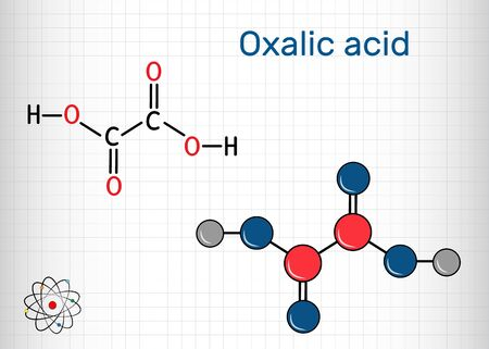 Oxalic acid  C2H2O4 molecule. It is dicarboxylic acid. Structural chemical formula and molecule model. Sheet of paper in a cage. Vector illustration Illustration