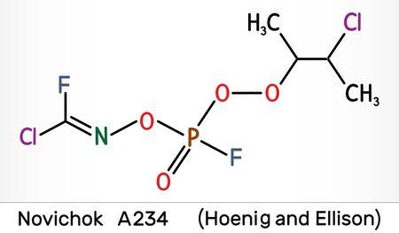 Novichok A-234 , organophosphate nerve agent, according to Hoenig and Ellison, C5H8Cl2F2NO3P molecule. Skeletal chemical formula. Illustration Imagens