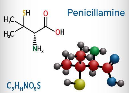 Penicillamine, D-penicillamine C5H11NO2S molecule. It is chelating agent, an antirheumatic and allergen drug. Structural chemical formula and molecule model. Vector illustration Ilustração