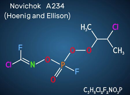 Novichok A-234 , organophosphate nerve agent, according to Hoenig and Ellison, C5H8Cl2F2NO3P molecule. Structural chemical formula on the dark blue background. Vector illustration