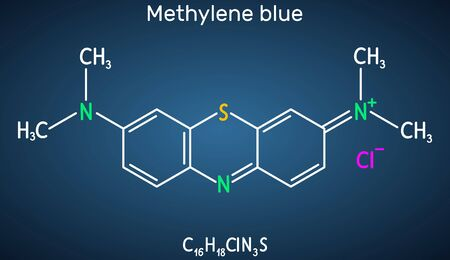 Methylene blue, methylthioninium chloride, C16H18ClN3S molecule. It is used to treat to treat methemoglobinemia. Structural chemical formula on the dark blue background. Vector illustration