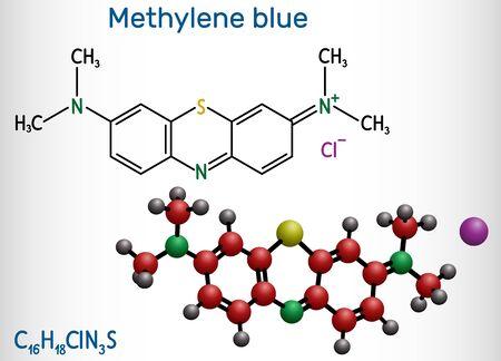 Methylene blue, methylthioninium chloride, C16H18ClN3S molecule. It is used to treat to treat methemoglobinemia. Structural chemical formula and molecule model. Vector illustration Ilustração