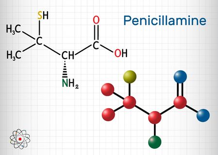 Penicillamine, D-penicillamine C5H11NO2S molecule. It is chelating agent, an antirheumatic and allergen drug. Structural chemical formula and molecule model. Sheet of paper in a cage. Vector illustration