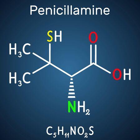 Penicillamine, D-penicillamine C5H11NO2S molecule. It is chelating agent, an antirheumatic and allergen drug. Structural chemical formula on the dark blue background. Vector illustration Ilustração
