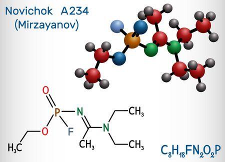 Novichok A-234 , organophosphate, nerve agent, according to Mirzayanov, C8H18FN2O2P molecule. Structural chemical formula and molecule model. Vector illustration Vektorgrafik