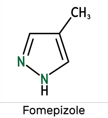 Fomepizole, 4-methylpyrazole, C4H6N2 molecule. It is used to treat methanol and ethylene glycol poisoning. Skeletal chemical formula. Illustration 스톡 콘텐츠