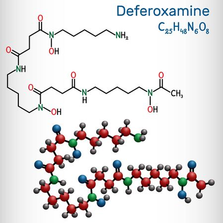 Deferoxamine, desferrioxamine B, DFOA,  C25H48N6O8 molecule. It is an iron chelating agent. Structural chemical formula and molecule model. Vector illustration