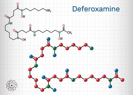 Deferoxamine, desferrioxamine B, DFOA,  C25H48N6O8 molecule. It is an iron chelating agent. Structural chemical formula and molecule model. Sheet of paper in a cage. Vector illustration