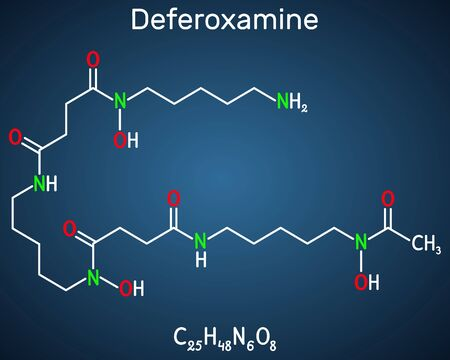 Deferoxamine, desferrioxamine B, DFOA,  C25H48N6O8 molecule. It is an iron chelating agent. Structural chemical formula on the dark blue background. Vector illustration 일러스트