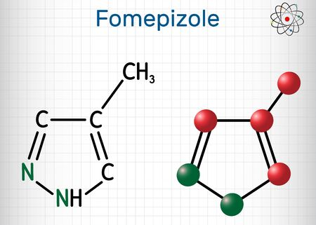 Fomepizole, 4-methylpyrazole, C4H6N2 molecule. It is used to treat methanol and ethylene glycol poisoning. Structural chemical formula and molecule model. Sheet of paper in a cage. Vector illustration