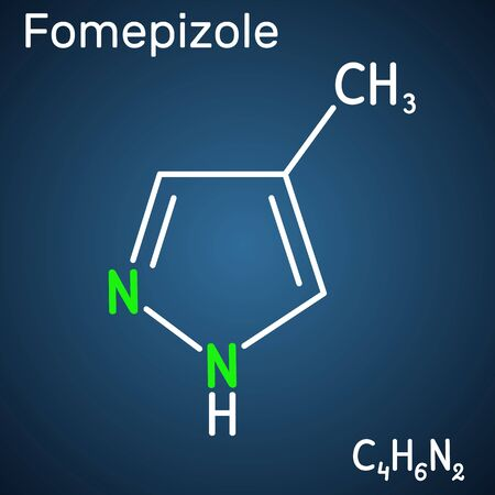 Fomepizole, 4-methylpyrazole, C4H6N2 molecule. It is used to treat methanol and ethylene glycol poisoning. Structural chemical formula on the dark blue background. Vector illustration