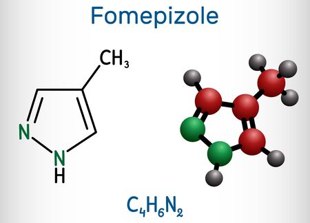 Fomepizole, 4-methylpyrazole, C4H6N2 molecule. It is used to treat methanol and ethylene glycol poisoning. Structural chemical formula and molecule model. Vector illustration