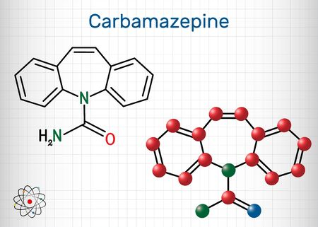 Carbamazepine, CBZ, C15H12N2O  molecule. It is anticonvulsant and analgesic drug, used in therapy of epilepsy and trigeminal neuralgia. Sheet of paper in a cage. Vector illustration