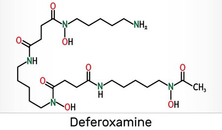 Deferoxamine, desferrioxamine B, DFOA,  C25H48N6O8 molecule. It is an iron chelating agent. Skeletal chemical formula. Illustration 스톡 콘텐츠