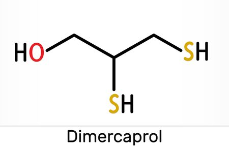 Dimercaprol, BAL, British anti-Lewisite, C3H8OS2, molecule. It is chelating agent, antidote against poison gas lewisite. Skeletal chemical formula. Illustration 스톡 콘텐츠