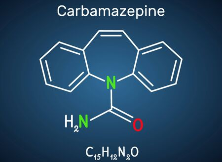 Carbamazepine, CBZ, C15H12N2O  molecule. It is anticonvulsant and analgesic drug, used in therapy of epilepsy and trigeminal neuralgia. Structural chemical formula on the dark blue background. Vector illustration