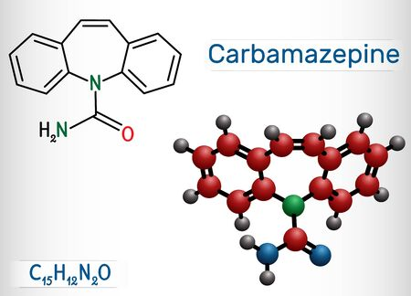 Carbamazepine, CBZ, C15H12N2O  molecule. It is anticonvulsant and analgesic drug, used in therapy of epilepsy and trigeminal neuralgia. Structural chemical formula and molecule model. Vector illustrat 일러스트