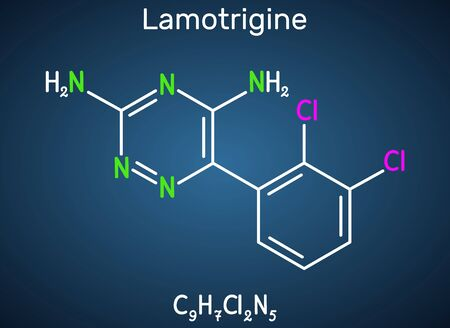 Lamotrigine molecule. It is used in the treatment of epilepsy and bipolar disorder. Structural chemical formula on the dark blue background. Vector illustration 일러스트