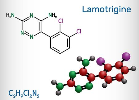 Lamotrigine molecule. It is used in the treatment of epilepsy and bipolar disorder. Structural chemical  formula and molecule model. Vector illustration 일러스트