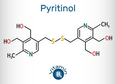 Pyritinol molecule, is a vitamin B6. Structural chemical formula and molecule model. Vector illustration 일러스트