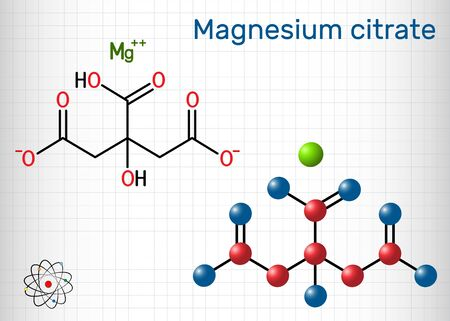 Magnesium citrate, C6H6MgO7 molecule. It is food additive E345. Structural chemical formula and molecule model. Sheet of paper in a cage. Vector illustration