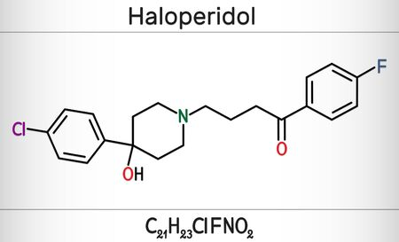 Haloperidol molecule, is antipsychotic medication. Skeletal chemical formula. Illustration