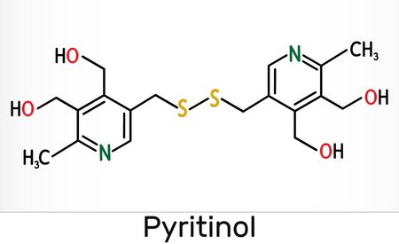 Pyritinol molecule, is a vitamin B6. Skeletal chemical formula. Illustration