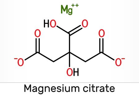 Magnesium citrate, C6H6MgO7 molecule. It is food additive E345. Skeletal chemical formula. Illustration