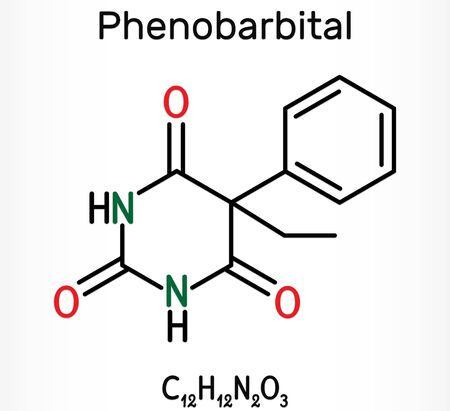 Phenobarbital, phenobarbitone or phenobarb, C12H12N2O3  molecule. It is a medication for the treatment of epilepsy. Skeletal chemical formula. Illustration