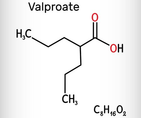 Valproate, VPA, valproic acid molecule. It is anticonvulsant and antiepileptic drug. Skeletal chemical formula. Illustration
