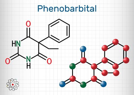 Phenobarbital, phenobarbitone or phenobarb, C12H12N2O3  molecule. It is a medication for the treatment of epilepsy. Structural chemical formula and molecule model. Sheet of paper in a cage. Vector ill